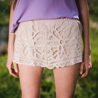 Flowers In Lace Shorts - Lotus Boutique