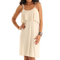 Ivory Stylish Sleeveless Studded Drape Knit Dress