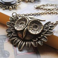 vintage style cute owl necklace by qizhouhuang on Etsy