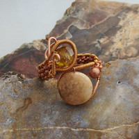 Wire Wrapped Ring with Stone and Swarovski Crystal in Copper