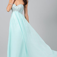 Long Empire Waist Strapless Prom Dress