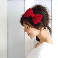 Crochet Bow Hair Band Red by ChiChiDee on Etsy