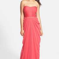 JS Boutique Pleated & Draped Jersey Chiffon Strapless Gown | Nordstrom