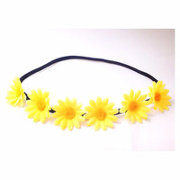 Handmade Yellow Daisy Flower Crown Headband Coachella Hippie Style Flower