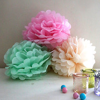 Three Pastel Pom Pom Decorations