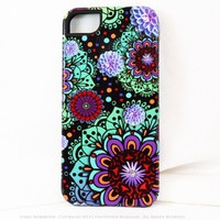 Premium Art Floral iPhone 5 5s Case - Funky Floratopia - Purple, Green, Orange and Red - Floral Case for iPhone 5s
