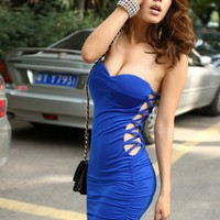 Sexy Side Openwork Design Low-Cut Srapless MiniRoyal Blue Dress For...... | paradise - Clothing on ArtFire