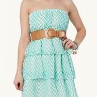 3-Tier Chevron Mini Dress