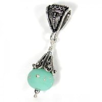 Etched Krptonite Large Hole Lampwork Bead And Sterling Silver Pendant | Covergirlbeads - Jewelry on ArtFire