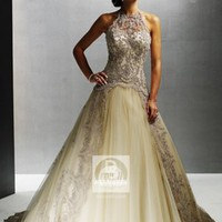 A-line Turtle Neck Lace Tulle Sweep Train Wedding Dress at Dresseshop