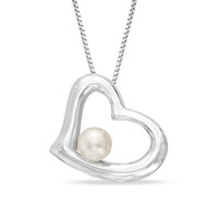 5.0 - 5.5mm Cultured Freshwater Pearl Heart Pendant in Sterling Silver - View All Necklaces - Zales