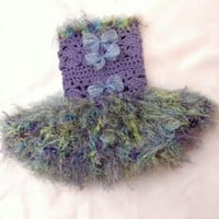 Tutu Dress Crochet Ruffled Furry Grass Hawaii by iaFlowerPower