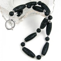 Artisan Black Lava Barrel Gemstone Sterling Silver Necklace | Covergirlbeads - Jewelry on ArtFire