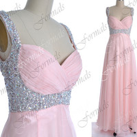 Baby Pink Prom Dress, Pink Formal Dresses, Straps with Sequined Chiffon Long Prom Gown, Formal Dresses, Pink Gown