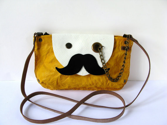 Mr Mustache with Monocle Leather Cross Body / Shoulder by askidas