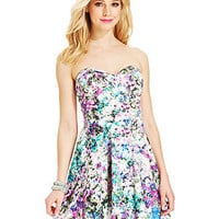 Emerald Sundae Juniors' Printed Sweetheart Dress