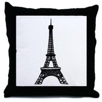 Black and White Eiffel Tower Decorative Throw Pillow, 18""