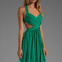 BCBGMAXAZRIA Shea Halter Dress in Ultra Green