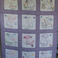 Hand Made Baby Quilt purple gingham Sunbonnet by purrfectstitchers