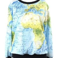 Injoy Neon Galaxy Cosmic Colorful Patterns Printing Sweatshirt Sweaters Tee (Free size, Map)