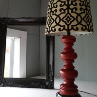 Hollywood Regency style Red w/Black glaze finish wooden table lamp