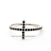 sterling silver, black sideways cross ring