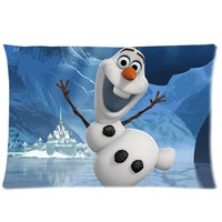 Custom Disney Frozen 2013 3D Cartoon Olaf Rectangle Pillow Case 20x30 (one side)