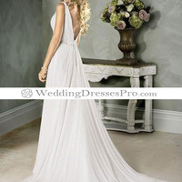 Empire V-Neck Chapel train Chiffon wedding dress for brides 2012 Style(WDL0081) [WDL0081] - $129.99 : wedding fashion, wedding dress, bridal dresses, wedding shoes