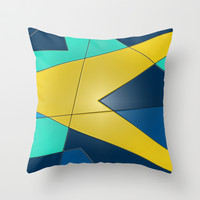 Yellow and Blue Throw Pillow by DuckyB (Brandi)