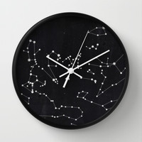 Constellation Wall Clock by Mille Dørge | Society6