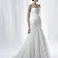 White A line Beaded lace Tulle Anjolique  Wedding Dress  AWD029 - Wholesale cheap discount price 2012 style online for sale.