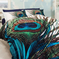 3D %100 cotton blue and green unique bedding set with peacock feather design