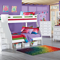 Belmar White 6 Pc Twin Full Step Storage Bunk Bedroom