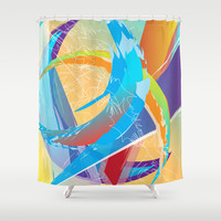 Abstract 133 Shower Curtain by Ramon Martinez Jr