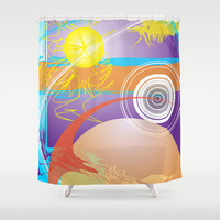 Abstract 129 Shower Curtain by Ramon Martinez Jr
