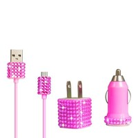 Bling Rhinestone Glitter Samsung Motorola HTC Android Blackberry Droid Nexus Micro USB Travel Charger Kit (Pink)