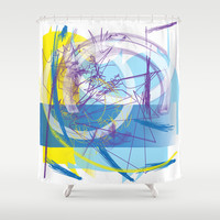 Abstract 126 Shower Curtain by Ramon Martinez Jr