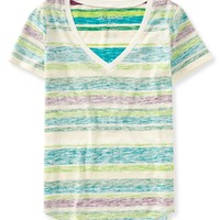 Reverse Stripe V-Neck Tee