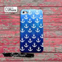 Anchor Pattern Blue Ombre Sailor Navy Ocean Beach Cute Tumblr Custom iPhone 4 and 4s Case and Custom iPhone 5 and 5s and 5c Case