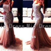 Soft tulle mermaid style with sequins and beads prom dress ,evening dress