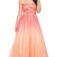 Strapless Long Prom Dress with Stone Bodice and Full Ombre Skirt