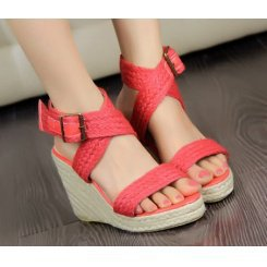 Wholesale Feet to show beautiful simple flax weave belt wedge heel sandals CZ-0730 red - Lovely Fashion
