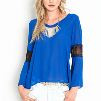Crochet Band Chiffon Top