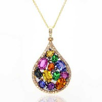 EFFY™ Collection Multi-Color Sapphire, Tsavorite and 1/3 CT. T.W. Diamond Pendant in 14K Gold - View All Necklaces - Zales