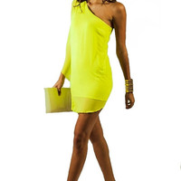 Electric Current One Shoulder Dress - Chartreuse | Daily Chic