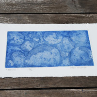 Bubbles, Geometric, Space, Sea, Blue etching, Cluster of dots
