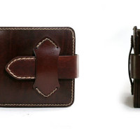 LEATHER WALLET Mens Leather Wallet Handmade Half-Wallet Billfold in BROWN
