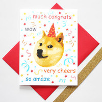 Funny Doge Meme Congratulations Graduation Greeting Card