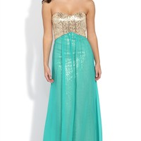 Dress with Sequin Bodice and Soft Chiffon Skirt