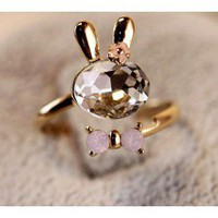 Cute Crystal Rabbit Shape Animal Ring Band ring - Animal Rings - Rings